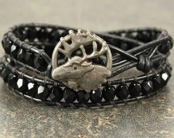 Black Moose Bracelet Unique Bohemian Moose Jewelry Bold Black Leather Wrap Bracelet