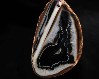 39x66x9mm Natural Crytallized Banding AGATE Geode Slice Slab X-Large Organic Free Form Focal Pendant - F1124