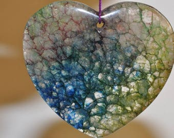 "43x46x6mm ""Dazzling/Sparkling Jewel Tone""~Color-Enhanced RAINBOW CRYSTAL QUARTZ X-Large Heart-Shaped Pendant //Cracked Dragon Vein - H1128"