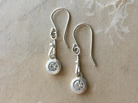 Cubic Zirconia Earrings   Tiny Dangle Earrings   Delicate Silver Earrings