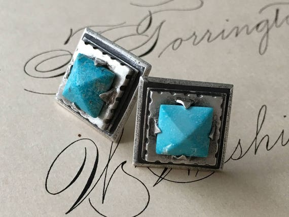Pyramid Earrings | Turquoise Studs | Architectural Earrings