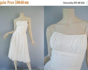 ON SALE 1960s White Chiffon Dress - 60s Sequin Straps Party Dress - Prom Bridal