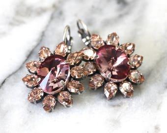 Blush Pink Earrings, Bridal Blush Earrings, Bridal Antique Pink Earrings, Bridal Blush Swarovski Earrings, Blush Pink Crystal Drop Earrings