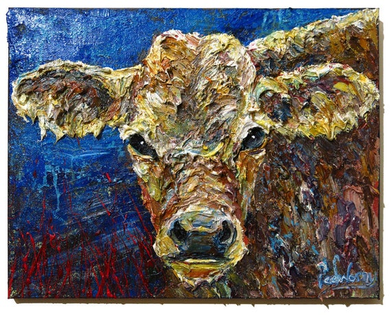 Oil Paint on Stretched Canvas of 16 by 20 by 3/4 in. / Original oil painting impressionist outsider cow animal vintage art realism milk