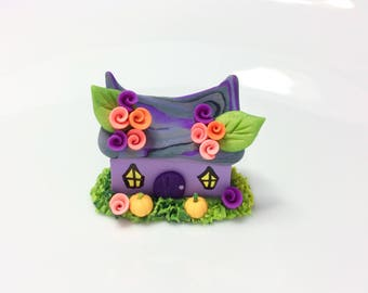 Miniature Witch cottage cup cake decoration handmade from polymer clay