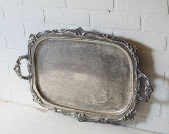 Large Silver Tray, Large Silver Serving Tray, Rectangle Tray, Silver Waiter Tray, Vintage Hotel Silver, Silver Butler Tray, Hotel Serveware