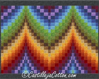 Bargello Quilt ePattern, 4797-3e, rainbow wall quilt pattern, pieced rainbow wall quilt