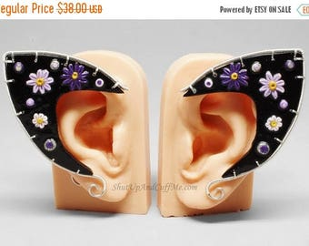 SALE - Purple Flower Elf Ear Cuffs, Black Elf Ear Cuffs, Elf Ear Wrap, Polymer Clay Elf Ears - PAIR