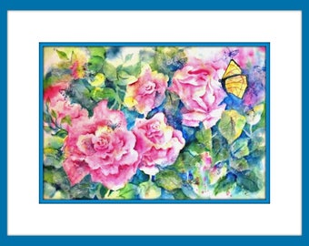 Roses Watercolor, Collage Roses, Butterflies, Mixed Media Roses, Butterfly Art, Pink, Green, Original Martha Kisling Art