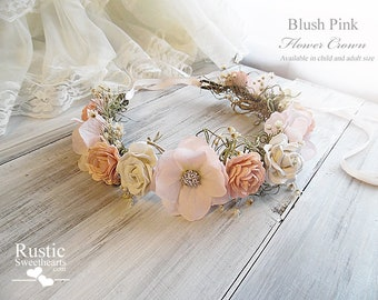 Blush Pink Flower Crown ~ Bridal Flower Crown ~ For Flower Girl or Bridesmaid ~ Available in Child and Adult Size