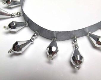 Metallic Silver Short Beaded Teardrop Fringe on Gray Ribbon for Christmas, Costume or Decorator Trim
