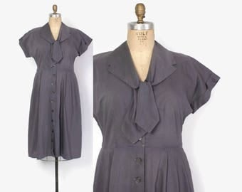 Vintage 50s Cotton Dress / 1950s Dark Gray Button Front Day Dress L - XL