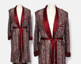 Vintage 50s MEN'S ROBE / 1950s Burgundy Ethnic Print Belted Dressing Gown M