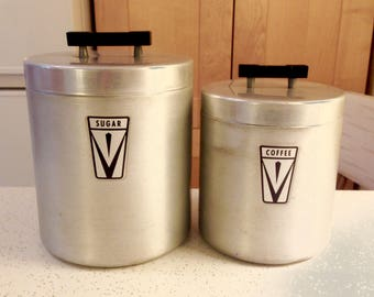 Vintage Kitchen Canister Set Of 2, Aluminum 1940s Kitchen Decor, Sugar  Coffee
