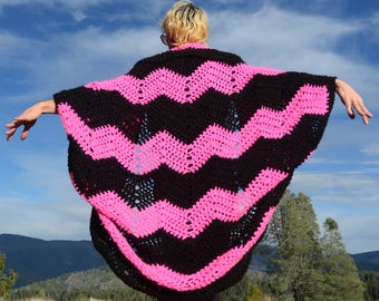 Crochet Shrug Hot Pink and Black
