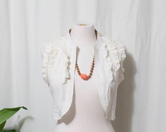 boho vest capelet, white off white, small
