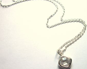 Sterling Silver Necklace Cubic Zirconia Clear Pendant Jewelry