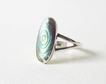 Sterling Silver Oval Abalone Ring Size 6, Vintage