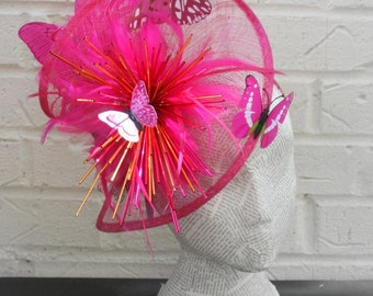 Pink and Orange Stunning Butterfly Ladies Hat -  Elegant Millinery Design