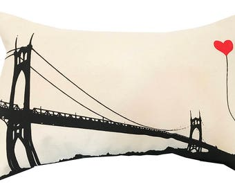 Portland Oregon St. John's Bridge Rectangular Canvas Throw Pillow