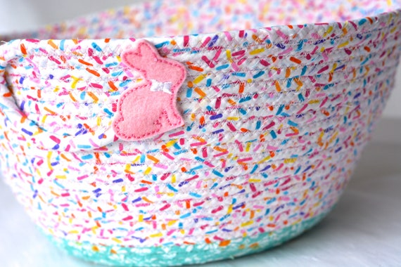 Pink Easter Basket, Pink Flower Girl Basket, Handmade Easter Bucket, Pink Wedding Basket, Baby Girl Pink Easter Bucket