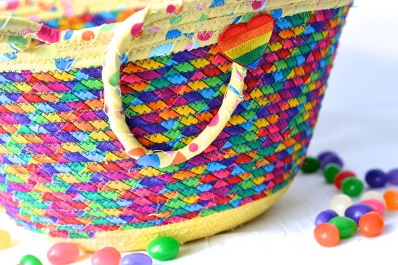 Rainbow Easter Basket, Handmade Kid's Basket, Artisan Quilted Bowl, Easter Decoration, Artisan Quilted Organizer, Boy Easter Bucket