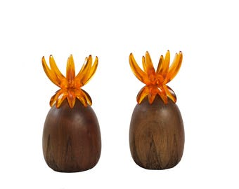 Mid Century Pineapple Candleholders - Pair - Wood and Lucite - Danish Modern