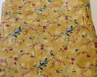 """Gold Floral Cotton/Poly Fabric: """"Always in Bloom"""" by Maywood Studio"""