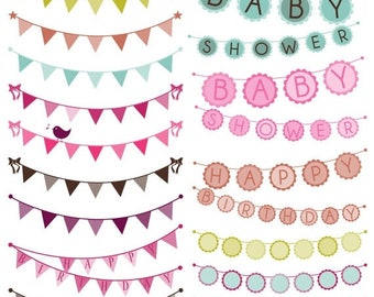 BACK TO SCHOOL Sale Bunting Photoshop Brushes, Birthday Wedding Baby Shower Bunting Photoshop Brushes - Commercial and Personal Use