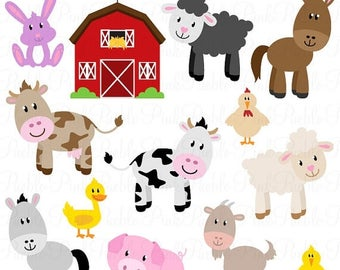 BACK TO SCHOOL Sale Farm Animals Clipart, Farm Animals Clip Art, Barnyard Clipart, Barnyard Animals Clip Art - Commercial and Personal Use