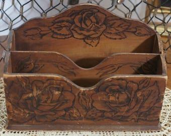 Vintage Pyrography Desk Box, woodburning, letter box