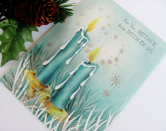 Four 1960s Christmas Cards Ambassador For You Mother From Both Of Us Unused Parchment Cards With Original Envelopes Candles Silver Glitter