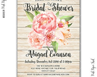 Rustic Floral Pink and Peach Peonies Shabby Chic Bridal Shower Party Invitation, Wedding Shower Invitation, I will customize, Print your own