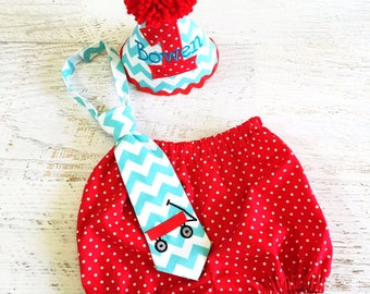 Baby Boy Little Red Wagon Themed Cake Smash Outfit with Birthday Hat, Diaper Cover, and Tie