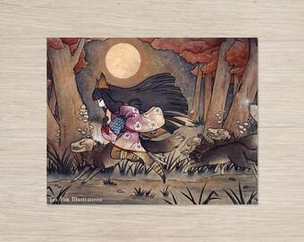 Running With Monsters / Kitsune Fox Yokai / Japanese Asian Style / Wall Decor / 11x14 Poster Print