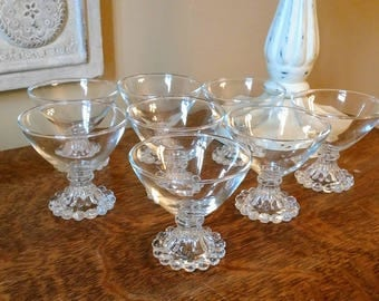 Vintage Anchor Hocking  Glass Boopie Berwick Clear Champagne/Tall Sherbert  Glasses Set of Eight