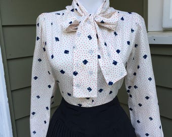 Vintage Blouse /  1950s 1960s Blouse / Atomic RED White & Blue Polka Dot Print Button Down Long Sleeve Shirt / Blouse With Bow Womens Top