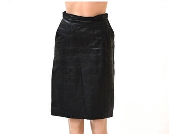 SALE Vintage Black Leather Skirt Size Small/Medium with Side Pockets