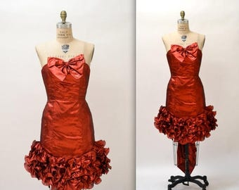 SALE 80s Vintage Metallic Red Party Dress By Mike Benet// Vintage 80s Red Strapless Prom Dress Dress Size Medium Small