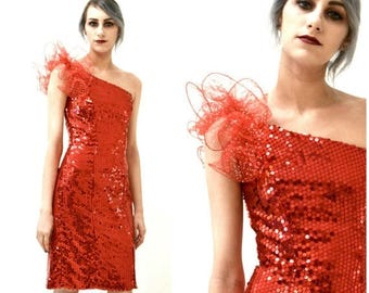 SALE Vintage 80s Prom Dress in Red Size XS Small Sequin Dress// 80s Party Dress Red Sequin Dress XS Small Barbie Pageant Drag Queen Loralie