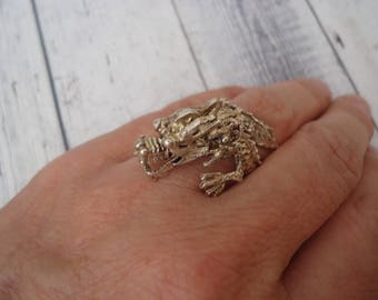 Vintage 925 Sterling Silver Unisex Dragon Ring w/ Jointed Movable Head, Wrap Around Style, Adjustable