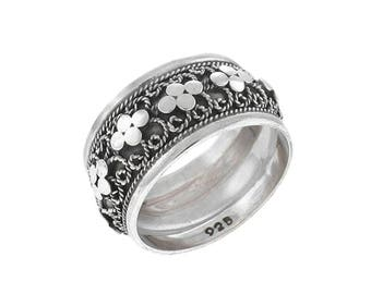 Daisy Flower Band Ring Sterling Silver Balinese Bali Jewelry