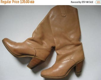 Summer Sale Tall 70s vintage Hanna buff leather boots wood stacked heel size 6 made in Canada