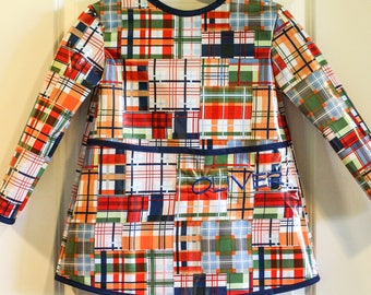 Extra Long Long Sleeved Boys Art Smock Painting Shirt in Plaid Patchwork