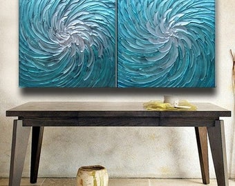 SALE 60 x 30 Pair Paintings Custom Original Abstract Texture Impaston Aqua Blue White Floral Sculpture Modern Metallics Oil Painting by Je H