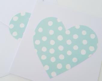 Heart, Love, Postcard, Mintgreen with Dots