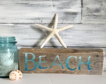 Beach wood sign, beach decor, one if a kind ocean decor, beach cottage, unique gift for her, wood block