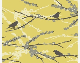 SALE 10% Off - Joel Dewberry - AVIARY 2 - Sparrows in Vintage Yellow JD41 - Free Spirit Fabric - By the Yard