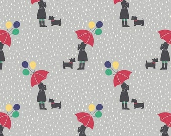SALE 10% Off - April Showers on Grey  A72.2 - APRIL Showers - Lewis and Irene - 1 yard