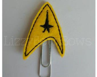Planner clip, bookmark, planner feltie clip, felt bookmark, star trek emblem feltie clip, star trek insignia, star trek inspired clip